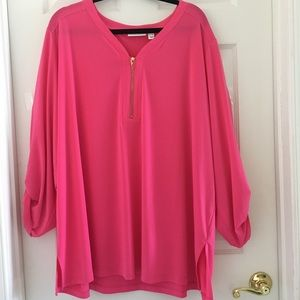 Susan Graver tunic top blouse 3X roll in sleeves